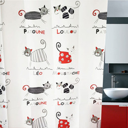 Wholesale Korean Style Curtains - Korean style waterproof curtain for bathroom cartoon cat shower curtain five sizes to choose