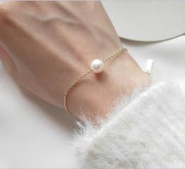 Ornements de ligne en Ligne-S925 Bracelet en argent sterling, perle d'eau douce naturelle, bracelet en fine ligne simple, ornements de main