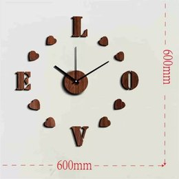 Wholesale Love Wall Watches - Free Shipping 3D big size love wall clock watch Wedding Decoration wood design DIY brief couple bedroom wall clock