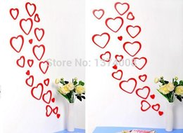 Wholesale Wood Pvc Wall Sticker - 1set Red Free Shipping DIY TV Background Creative Decor Fashion Classical Wooden Heart-Shaped 3D Wall Stickers