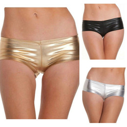 Wholesale Sexy Thong Adult - Adult Lingerie Sexy Metallic Booty Shorts Panties Thong For Women Satin Underwear Black Gold Silver BP6342
