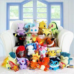 Wholesale Stuffed Plush Halloween - 2017 New 13-20cm Poke plush toys 20 styles torchic Mewtwo Groudon Charmander eevee Pikachu Soft Stuffed Dolls toy New years Gift