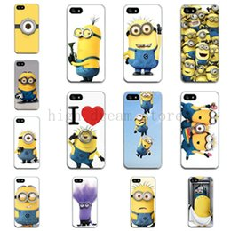 Wholesale Despicable Iphone 4s Cover - Wholesale-2015 New arrive 9 stylel skin For iphone 4 4s 5 5s cute Despicable Me Yellow Minion pattern plastic back cases covers