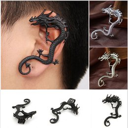 Wholesale Fly Earrings - ashion Flying Wrapped Dragon Earring Gothic Earring Punk Rock Left Ear Atique Cool Style Black Silver and Bronze 30pcs a lot