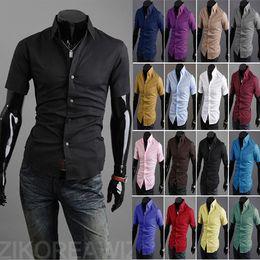 2019 camisas de color medias Al por mayor-envío libre 2015 camisa de manga corta camisas de los hombres de la mitad de la manga coreana marea de cuello en punta verano ropa de hombre 16 colores tamaño: rebajas camisas de color medias
