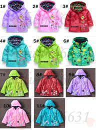 Wholesale Boys Rain Jacket - autumn new fashion Children's coat girls LOVELY FLOWERS wind-proof and rain-proof Jackets Girls and boy raincoat 11colors free shipping