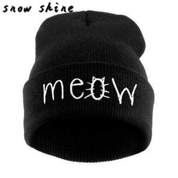 Wholesale Hiphop Skull Cap - Wholesale- snowshine #4503 Winter Knitting MEOW Beanie Hat And Snapback Men And Women Hiphop Cap free shipping