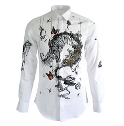 Wholesale Mens Dragon Dress Shirts - FG1509 2015 New Fashion Tide Shirt Men Long Sleeve Mens Slim Fit Dragon Printed Dress Shirts Brand White Non-iron Cotton