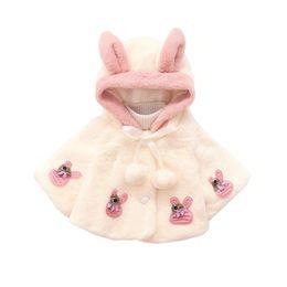 Wholesale Winter White Plush Coat - cute baby girls manto coat rabbit ears style plush warm overcoat for 9-36M girls newborn infant Winter outerwear princess coat