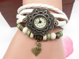 Wholesale Cheapest Casual Watch - Cheapest Pastoral Vine Wristwatch Heart Pendant Leather Straps Analog Bronze Casual Watches For Women Ladies Quartz Watch