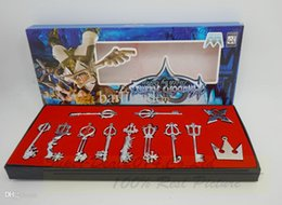 Wholesale Kingdom Hearts Free - Wholesale-12pcs set Kingdom Hearts Cosplay Necklace Sora Keyblade Keychain Metal Figure Toy Pendants Free Shipping