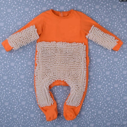 Wholesale Bebe Sizing - Baby Mop Romper Outfit Unisex Bebe Boy Girl Polishes Floors Cleaning Mop Suit Baby Crawls Toddler Swob Jumpsuit