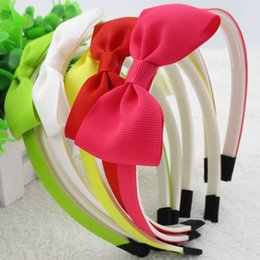 "Wholesale Plastic Headbands Cover - 24pcs  Lot 3 ""Boutique Hair Bows With Ribbon Covered 10mm Wide Plastic Teeth Hairbands Headbands Girls Women Hair Accessories"