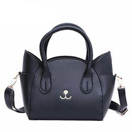 Wholesale Cute Fashion Handbags - Fashion Style PU Leather Ladies Cute Handbags 2018 New Arrival Large Shoulder Bag Wings Bag Cat Messenger Bag High Quality