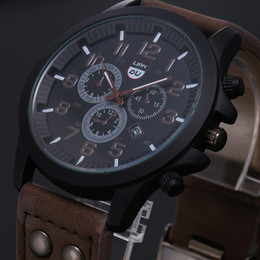 Wholesale Mens Pc Quartz Watch - US style 50 PCS boys student Military watches leather band outdoor calendar clock mens sport wrist watches with decoration dials 4 colors