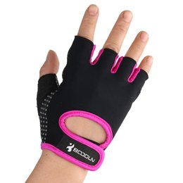 Wholesale Rally Equipment - Wholesale-Half Finger Fitness Gloves Men woven gloves weightlifting gym gloves training equipment Rally brace sports gloves Free Shipping