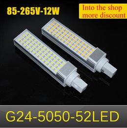 Wholesale G24 Led Dimmable - Aluminum Casting LED lamp 12W G24 5050 SMD 52LEDs LED Corn Bulb AC 85V 110V 220V 265V Non-Dimmable High quality Horizontal Plug light