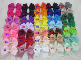 "Wholesale Cheer Accessories Wholesale - 35colors 3""high quality ribbon cheer bow buotique baby girl ribbon hair bows WITH CLIP for childre hair accessories 35pcs lot"