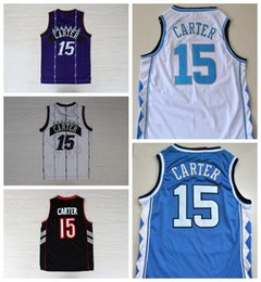 Wholesale Color Blue Jersey Basketball - Throwback 15 Vince Carter Jersey Men North Carolina Basketball Vince Carter College Jerseys Stitched Sport Color Team Purple White Black