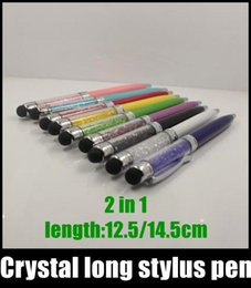 Wholesale Touch Ipad Iphone - Crystal long stylus pen Touch Screen Pen ball capacitive stylus pen ball 14.5cm 12.5cm for ipad iphone 6 s5 note3 HTC LG blackberry STY007