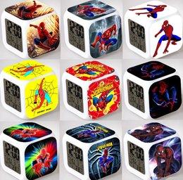 Wholesale Spider Man Digital Alarm Clock - Christmas Toys for Kids Spider Man LED Colors Digital Alarm Clocks Cartoon Anime Character Spider Man Night Colorful Glowing Clocks 0996