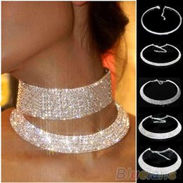 Wholesale Wedding Chokers Necklaces - Hot Sale New Women Crystal Rhinestone Collar Necklace Choker Necklaces Wedding Birthday Jewelry