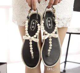 Wholesale Black Pearl Flat Back - Fashion Women's Clip Toe Flat Heel Shoes Pearl bow Sandal Summer Lady Roman Sandals 3 colors