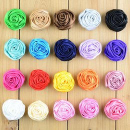 Wholesale Diy Kids Headbands - 200pcs lot 3.5cm Mini Satin Roses Flowers 29Colors 3D Rose Flowers Floral For Baby Headbands Kids Clothes DIY Accessories