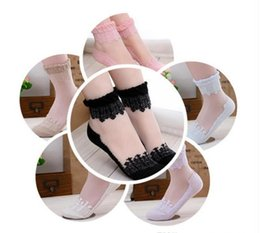 Wholesale Womens White Lace Ankle Socks - Hot sales Colorful Ultrathin Transparent Beautiful Crystal Lace Elastic Short Women Socks Calcetines Pink Sock for Womens meias