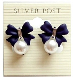 Wholesale Cheap Bow Earrings - Wholesale Sweet Bow Stud Pearls Pendant Charm Earrings Ear Hoop Korean Black Blue Fashion Jewelry Cheap Low price Hot sale 12pcs