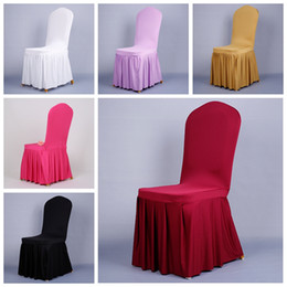 Wholesale Cheap Chair Sashes Wholesale - Wholesale Elastic Home Polyester Spandex Red Black Wedding Chair Covers Universal Folding Hotel Meeting Chair Skirt Decoration Cheap 2016