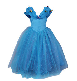 Wholesale Baby Girls Wedding Formal Dress - Dresses Wedding Cinderella Girl Party Dresses Blue Princess Dress Baby Kids Clothing Butterfly Childrens clothing Kids Costumes