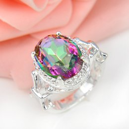 Wholesale Sterling Silver Mexico Rings - High Quality 5pcs lot Oval Rainbow Mystic Topaz Gemstone 925 Sterling Silver Flower Ring Mexico American Australia Weddings Jewelry Gift
