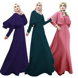 Wholesale Cheap Cotton Dresses For Women - Muslim Evening Dresses with Hijab For Arabic Modest Women Special Occasion Hot Sale Cheap Long Sleeve Wedding Party Gowns D536L