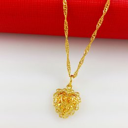 Wholesale Hollow Snake Chain - hollow Heart 100% hand made fashion jewelry 2016 New necklace 24k gold plated necklaces & pendants QMA034