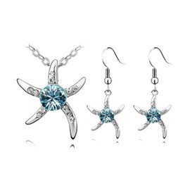 Wholesale Diamond Peacock Earrings - B133A72 Top Quality Fashion Charms 925 Silver Plated Crystal Starfish Love Necklace Earrings Wedding Engagement Gift Jewelry Sets For Women
