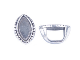 Wholesale Tibetan Wedding Ring - 15PCS Tibetan Silver 15x8mm Oval Cabochon Settings Bail Rings A32125