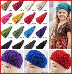Wholesale Knit Winter Headbands Flower - 2015 Women Crochet Headband Knit hairband Flower Winter Ear Warmer Headwrap 10pcs lot melee
