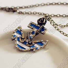 Wholesale long anchor necklace - Vintage Marine Era Retro Rose Anchor Created Diamond Pendant Long Necklace Sweater Chains necklaces & pendants 04SV