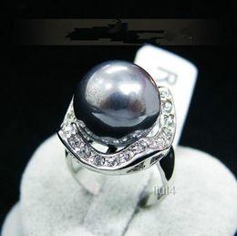 Wholesale Crystal Pearl Swarovski - free shipping >>>>>18K GP White Gold Swarovski Element Crystal Shell pearl Ring 7 8 9 Size