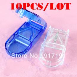 Wholesale Medicine Pill Cutter - Free Shipping 10pcs lot Pill Tablet Cutter Splitter Divide Storage Medicine Cut Dose Compartment Box order<$18no track