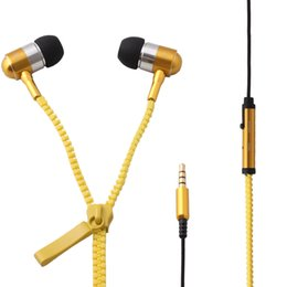 Wholesale Iphone Ear Caps - Stereo Bass Headset In Ear 3.5mm Zipper Earphone Headphone + Mic Earbuds For iPhone 4 5 5S for Samsung S3 S4 +2 pair Ear cap