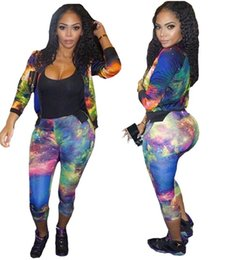 Wholesale Womens Sexy Pants Suits - Newest Women Sexy Mosaic printing colour Ladies tracksuits Tops Pants Women Two- Pieces Set Sportwear Woman Dresses Womens Sports suit