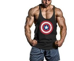 Wholesale Undershirt Tank Tops - Fitness Men Captain America Cotton Tank Top Singlet Bodybuilding Sport Undershirt Clothes Gym Vest Muscle Singlet fast shipping 1