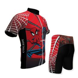 maillot cycliste orbea rouge Promotion Bonne qualité Red Spider Kid manches courtes + pantalons ensemble Vélo Jersey vélo / vélo / vélo jersey vêtements de vélo