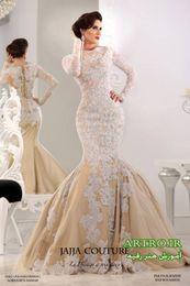 Wholesale Corset Wedding Dresses Long Sleeve - 2015 Saudi Arab Middle East Muslim Wedding Dresses High Neck Weddding Dresses Long Sleeve Corset Back Mermaid Beaded Lace Bridal Gowns Dhyz