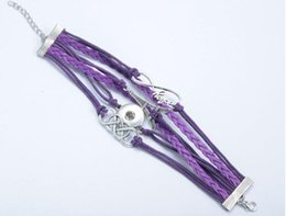 Wholesale Purple Leather Infinity Bracelet - purple infinity hope iron Tower noosa button bracelet alloy pu leater woven handmade snap button bracelet diy jelwery for 18mm