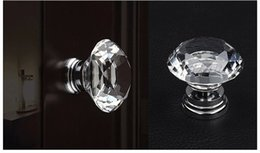 Wholesale Door Knobs For Cabinets - 30mm Crystal Glass Diamond Cut Door Knob for Wardrobe Cabinet Drawer Chest Dresser Cupboard With Screw Set