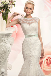 Wholesale Satin Short Slim Dress - C.V Sheer Neck Illusion Vintage Mermaid Wedding Dresses Slim Style Hollow Back Beautiful Sash Custom Made Bridal Wedding Gowns W0202