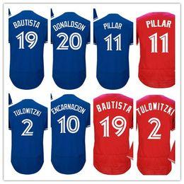 Wholesale Toronto 19 - 2017 Mens Toronto Jerseys Baseball 2 Tulowitzki 20 Josh Donaldson 19 Bautista 11 Pillar 10 Encarnacion Shirts Stitched Blue White Red
